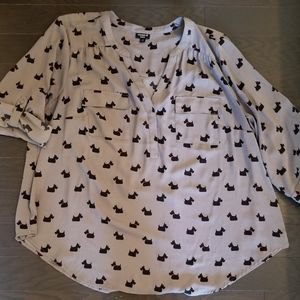 Torrid Scottie Dog Grey Blouse 2X